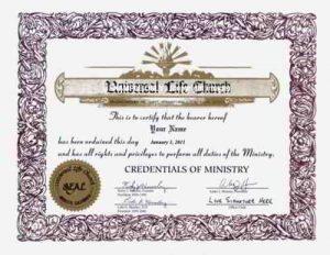 ULC Ordination Credential - ulc.net